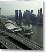 View Of Marina Bay Sands And Other Buildings From The Singapore  Metal Print