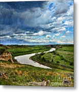 View Of River With Storm Clouds Metal Print