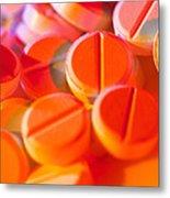 View Of Several Scored Paracetamol Tablets Metal Print