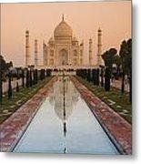 View Of Taj Mahal Reflecting In Pond Metal Print