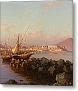 View Of The Bay Of Naples Metal Print