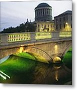 View Of The Four Courts And The Liffey Metal Print