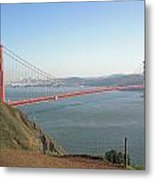 View Of The Golden Gate Bridge And San Francisco From A Distance Metal Print