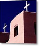 View Of The Shadowed Walls Of An Adobe Metal Print