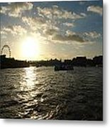 View Of The Thames At Sunset With London Eye In The Background Metal Print