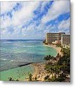 View Of Waikiki And Beach Metal Print