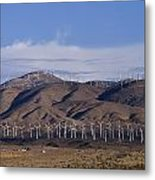View Of Windmill Structures On A Wind Metal Print