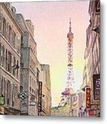 View On Eiffel Tower From Rue Saint Dominique Paris France Metal Print