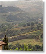 View Over The Tuscan Hills From San Gimignano Italy Metal Print