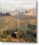 Villa On A Hill In Tuscany Metal Print