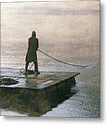 Villager On Raft Crosses Lake Phewa Tal Metal Print