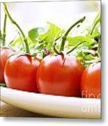 Vine Tomatoes On A Salad Plate Metal Print
