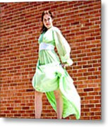 Vintage 1940's Green Dress 2 Metal Print