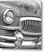 Vintage 1951 Nash Ambassador Front End 2 Bw Metal Print
