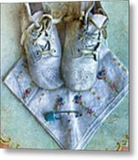 Vintage Baby Shoes And Diaper Pin On Handkercheif Metal Print