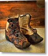 Vintage Baby Shoes Metal Print