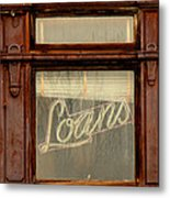 Vintage Bank Sign Metal Print
