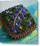Vintage Blue And Green Rhinestone Brooch On Watercolor Metal Print