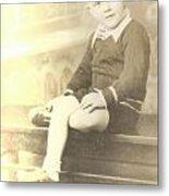 Vintage Boy Crossed Leg Metal Print
