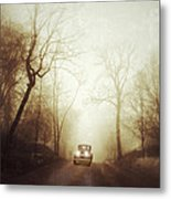 Vintage Car On Foggy Rural Road Metal Print by Jill Battaglia