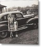 Vintage Car Woman And Girl Metal Print