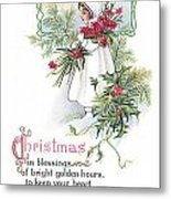 Vintage Christmas Blessings Metal Print