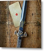 Vintage Dagger On Wood Table With Playing Card Metal Print