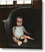 Vintage Dolls On Chair In Dark Room Metal Print by Sandra Cunningham