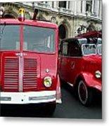 Vintage Fire Truck Duo Metal Print