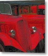 Vintage Fire Truck Techno Art Metal Print