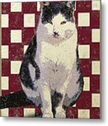 Vintage French Bistro Cat Metal Print by Flo Karp