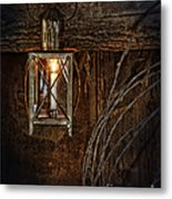 Vintage Lantern Hung In A Barn Metal Print