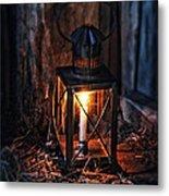 Vintage Lantern In A Barn Metal Print by Jill Battaglia