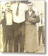 Vintage Men In Front Of Tree Metal Print