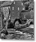 Vintage Mill In Black And White Metal Print