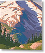 Vintage Mount Jefferson Travel Poster Metal Print by Mitch Frey
