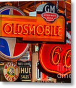 Vintage Neon Sign Oldsmobile Metal Print