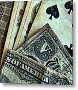 Vintage Playing Cards And Cash Metal Print