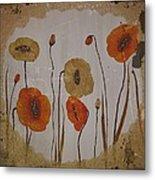Vintage Red Poppies Painting Metal Print