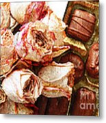 Vintage Roses And Chocolates Painterly Metal Print