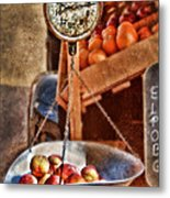 Vintage Scale At Fruitstand Metal Print by Jill Battaglia