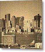 Vintage Style Boston Skyline 2 Metal Print