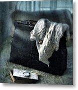 Vintage Suitcase On Brass Bed Metal Print
