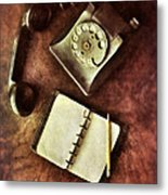 Vintage Telephone And Notebook. Metal Print