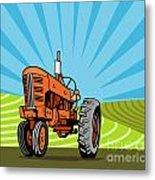 Vintage Tractor Retro Metal Print by Aloysius Patrimonio