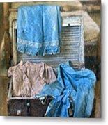 Vintage Trunk With Ladies Clothing Metal Print