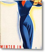 Vintage Winter In Austria Travel Poster Metal Print