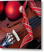 Violin And Red Ornaments Metal Print