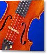Violin Isolated On Blue Metal Print