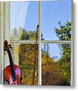 Violin On A Window Sill Metal Print